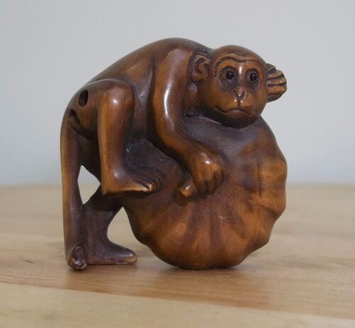 Chinese Netsuke Hand Carved Charming Monkey & Melon – Signed