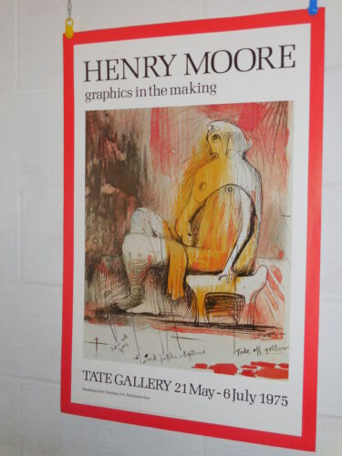 Original Art Poster HENRY MOORE-Graphics in the making-TATE GALLERY 1975 LONDON