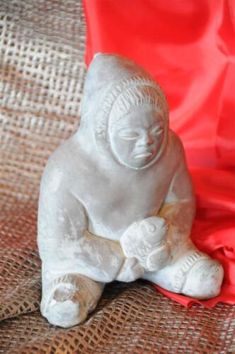 Old Eskimo Carving / Casting Statue from Abbott Canada… beautiful display piece