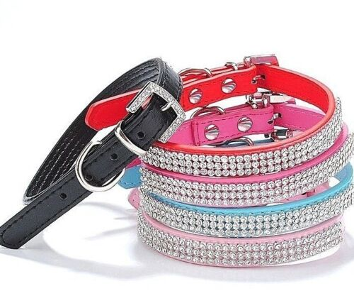 Pretty Diamond Crystal Rhinestones Leather Bling Collar for Dog Puppy Cat Kitten <br/> SAME DAY SHIPPING by US Seller