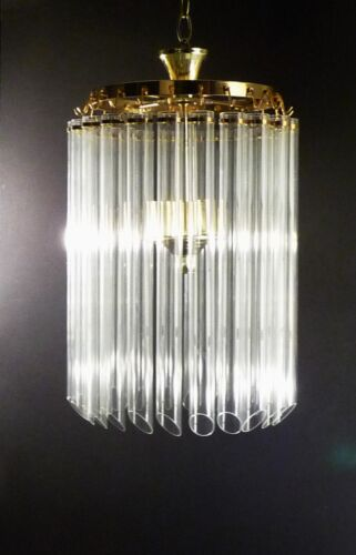 Mid Size Murano Venini Canna 22  Prism 1 Tier 3 Light Chandelier Italy 1960's