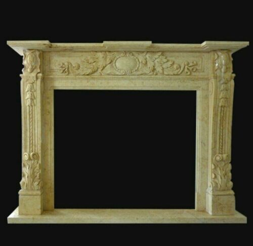 Cornice Caminetto Camino Travertino Stile Impero Classic Fireplace Marble Frame