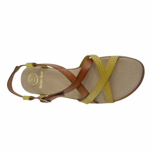 Size 11 Brown & Yellow Strappy Flat Sandals Made in Spain Big Large Size Shoes