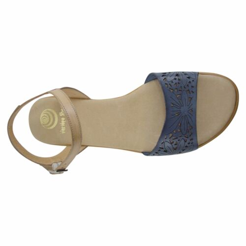 Size 11 Navy & Tan Floral Laser Cut Flat Sandals Made in Spain Big Large Shoes