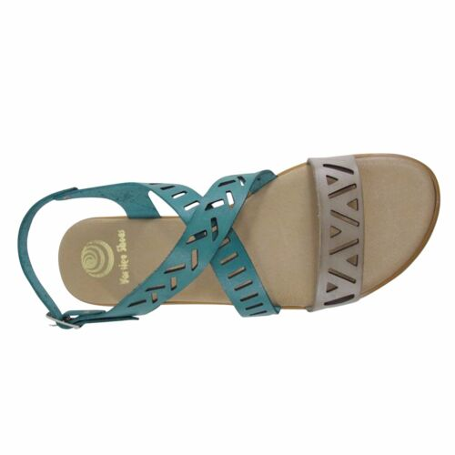Size 11 Laser Cut Flat Sandals Made in Spain Teal & Grey Crossover Large Shoes