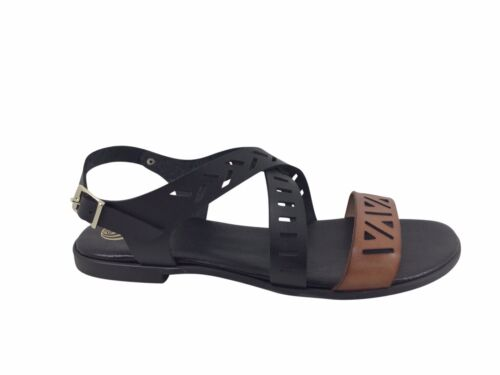 Size 11 Laser Cut Flat Sandals Made in Spain Black & Tan Crossover Large Shoes