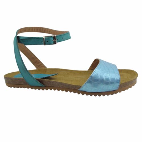 Size 12 Blue Leather & Cork Flat Sandals Made in Spain Large Size Women's Shoes