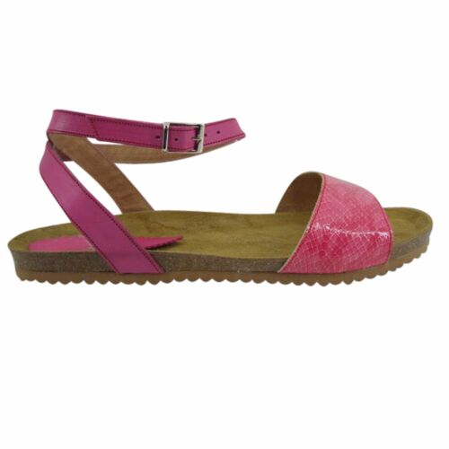Size 12 Pink Leather & Cork Flat Sandals Made in Spain Large Size Women's Shoes