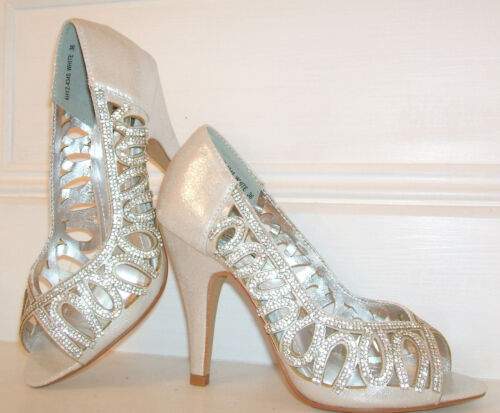 SIZE 2.5 3 4 5 6 7 8 WHITE IVORY SILVER SHIMMER DIAMANTE BRIDAL OCCASION SHOES
