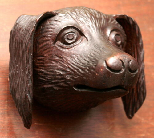 "Part- 19th c Renaissance Victorian carved dog head, walnut, 4""w"