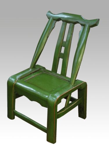 A Chinese Antique Green Color Paint Hardwood Chair Stool w/ Backrest Asian style