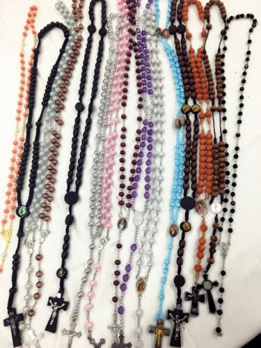 Closeout -12pc Mix Lot wholesale Religious full Rosary Crucifix Cross Necklace