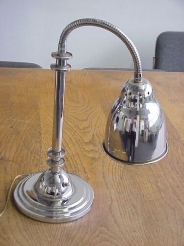 VINTAGE LAMP - ART DECO GOOSENECK CHROME DESK LAMP- CHROME MADE IN USA