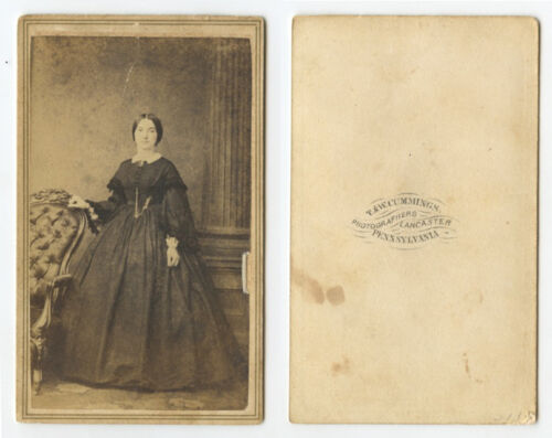 CDV STUDIO PORTRAIT LADY IN LONG DARK DRESS FROM LANCASTER, PA, BY CUMMINGS