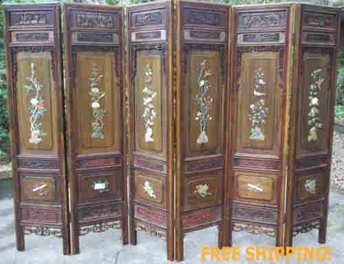 FINAL SALE $5900 - WAS $13,750 - Antique Chinese Floor Screen - Carved Gemstones