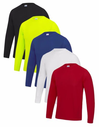 Mens Long Sleeve Breathable Wicking Polyester Cool Athletic T-Shirt Tshirt