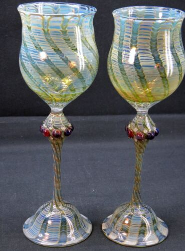 PAIR of Vintage Murano(?) Hand Blown Art Glass Pulled Feather Pattern Goblets