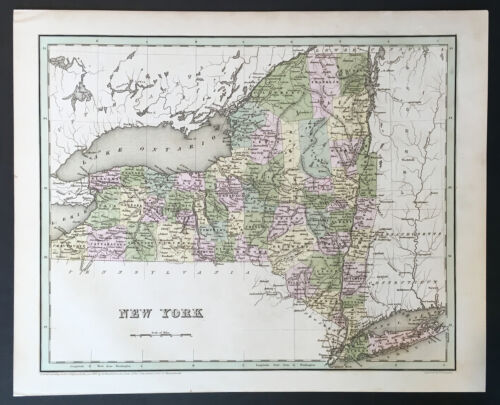 """Map of New York"" T.G. Bradford 1838"