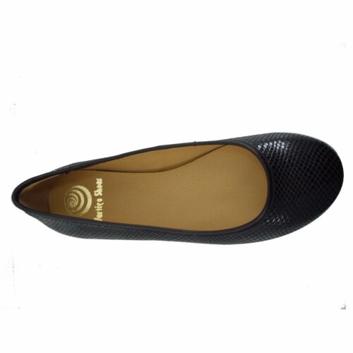 Size 8 Women's Black Snake Print Leather Ballet Flats Round Toe MADE IN SPAIN