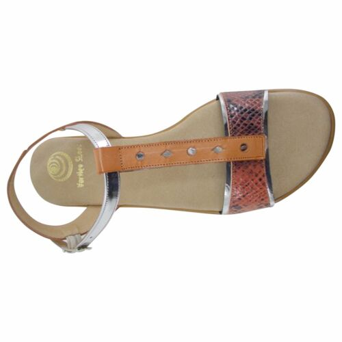 Size 8 Orange and Metallic Flat TBar Sandals Made in Spain
