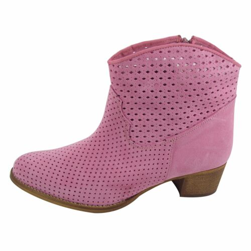 Size 11 Women's Pink Suede Ankle Boots MADE IN SPAIN Large Size Shoes for Women