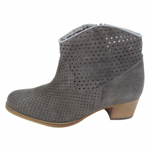 Size 9 Women's Grey Suede Ankle Boots with wood block heel