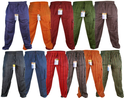 Plain Striped Cotton Light Loose Straight Elastic Waist Nepalese Trousers Pant <br/> Hippie Wide Leg Summer Pajama Casual Lounge Wear Pants