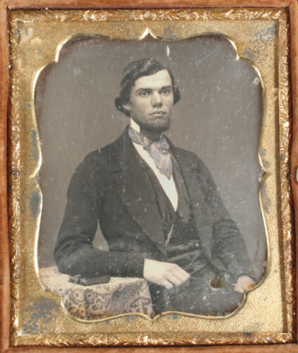 DAGUERREOTYPE YOUNG MAN WITH BOOK, TINTED 1/6TH PLATE, FIREMAN FULL CASE.