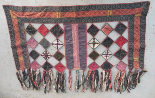 "Pair of Antique traditional Uzbekistan yurt door window coverings 45 x 32"" each"