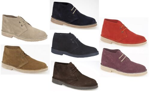 Roamers Original Unisex Genuine Suede Leather 2 Eyelet Lace Ankle Desert Boots