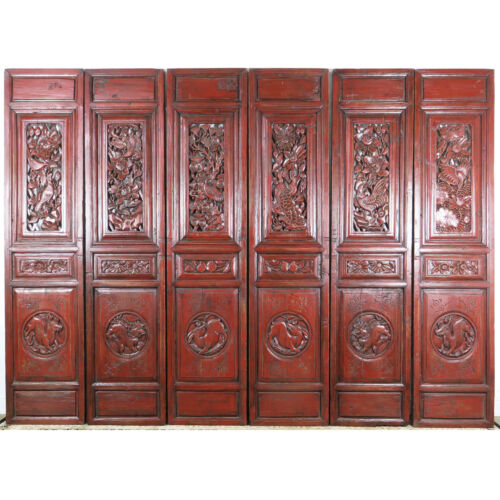 "Set of 6 Carved Red Antique Chinese Asian Architectural  Doors 19"" x 85"" each"