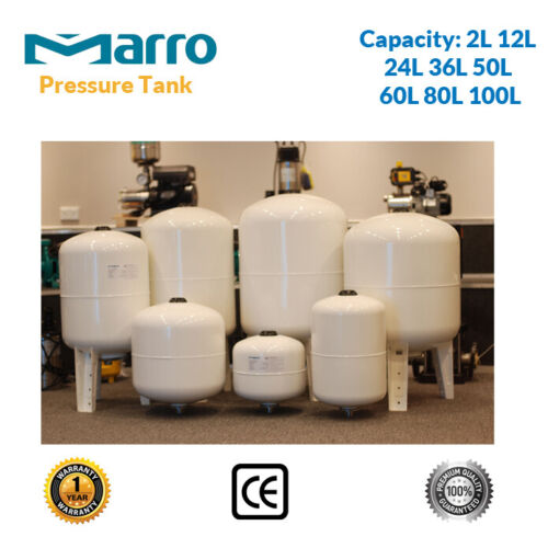 Quality Water Pressure Tank 2/12/24/36/50/60/80/100 Litre  - Suit Water Pumps <br/> 8 Sizes, Non-toxic Materials, Replace Grundfos & Davey
