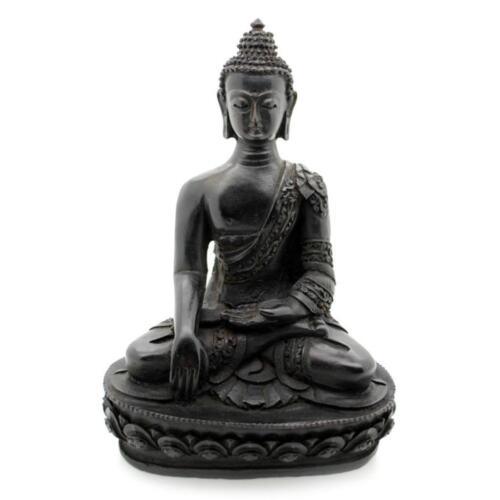 "BUDDHA STATUE 7.5"" Buddhism Dark Resin Meditate HIGH QUALITY Buddhist Shakyamuni"