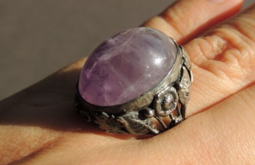 Vintage Chinese Amethyst Cabochon Silver Ring