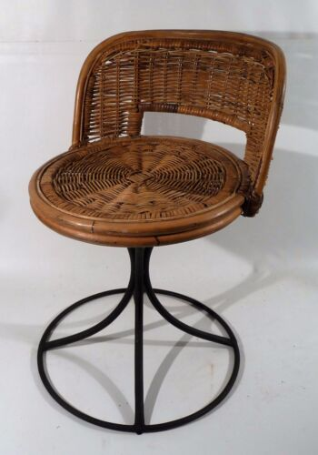 Set of 4... Vintage Woven Wicker Steel Based Swivel Low Back Stools Italian 60s
