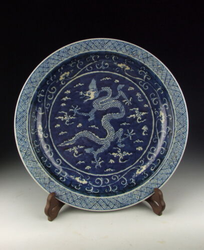 China Antique Blue&White Porcelain Plate with Dragon Pattern