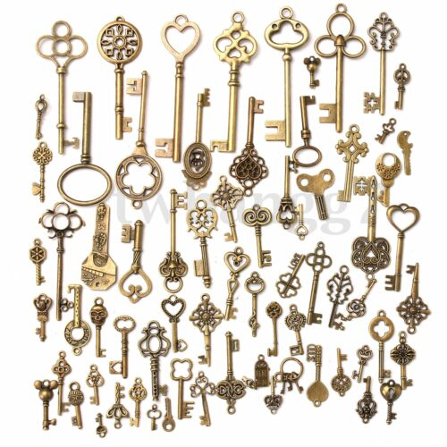 70Pcs Antique Vintage Old Look Bronze Skeleton Key Fancy Heart Bow Pendant Decor