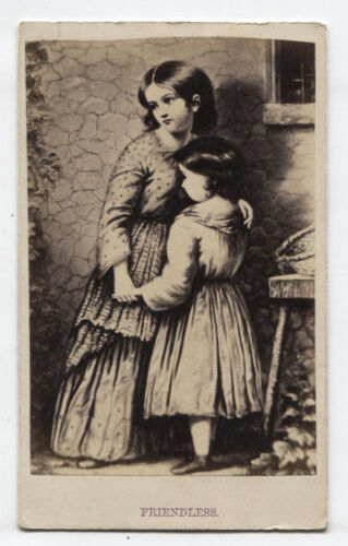 CDV OF ARTIST PRESENTATION, GIRL COMFORTED BY MOTHER. FRENDLESS.