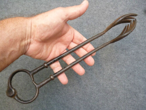 "ANTIQUE VICTORIAN FIREPLACE COAL OR WOOD TONGS - 12.5"" - CAST IRON - WELL-MADE"