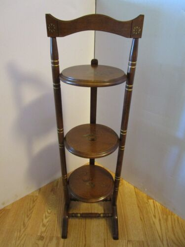 "Vintage 3 Tier Wood Pie Plant Folding Stand Stenciled Painted 36.25"" tall retro"