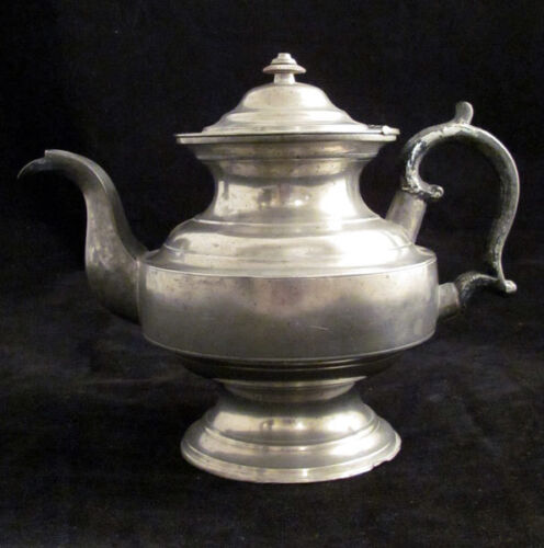 19th c. Daniel Curtiss Pewter Teapot, Albany, NY