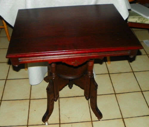 Solid Cherry Eastlake Carved Center Table / Parlor Table  (T572)