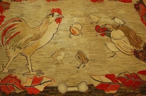 Circa 1900's ANTIQUE FOLK ART AMERICAN HOOKED RUG 6x8.10 HEN_ROOSTER