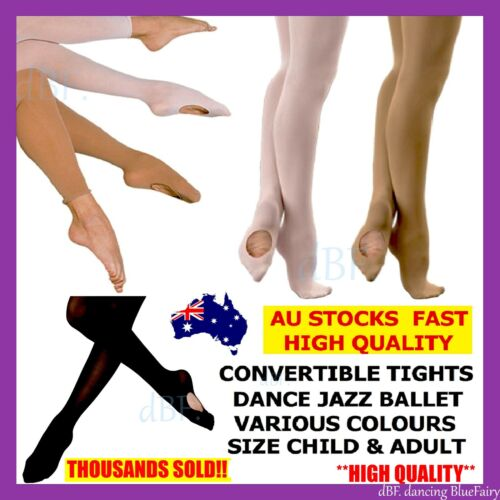 CONVERTIBLE TIGHTS DANCE STOCKINGS BALLET PANTYHOSE SIZE CHILDREN & ADULT COLORS <br/> **THOUSANDS SOLD!! HIGH QUALITY CONCERT SHOW PERFORM**