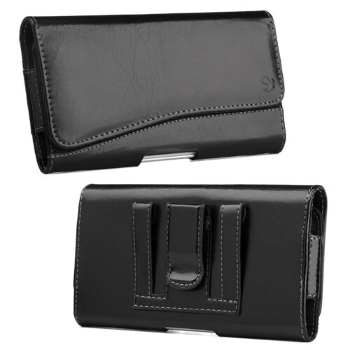 For SAMSUNG GALAXY J7 - BLACK Leather Pouch Belt Clip Holster Cover Case Holder