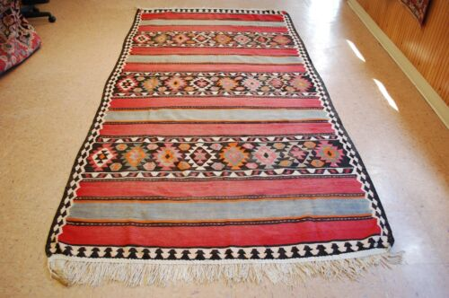 C 1920s ANTIQUE RARE SIZE CAUCASIAN KILIM 5.2x10 HIGH KPSI_COLORFUL_VEGY DYE