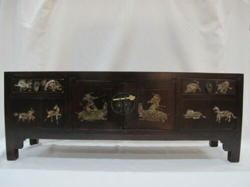 A Chinese Antique Brown Color Wood Kang Low / TV display Table / Stand 39'' Wide