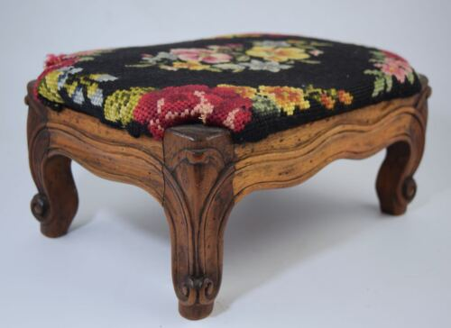 ANTIQUE FRENCH PROVINCIAL LOUIS XV STYLE DIMINUTIVE CARVED FOOTSTOOL