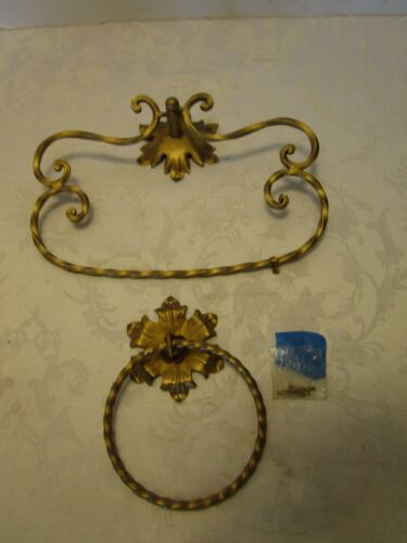 Set 2 Wall Toleware Gilt Metal Towel Rack and Ring Signed Italy Regency Vintage