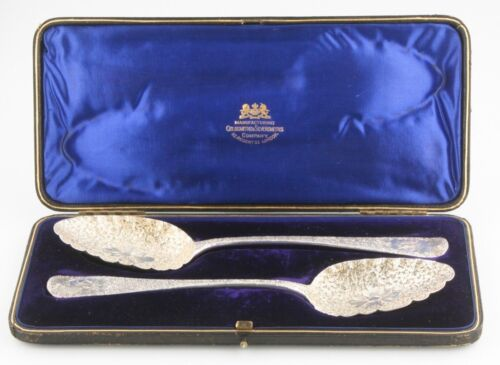 Vintage Gold/Silversmiths Intricate Sterling Silver Serving Spoons w/ Case 1948